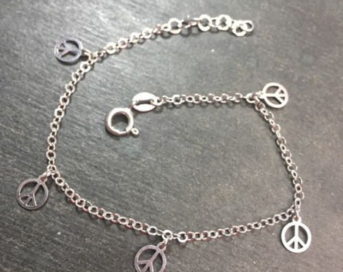 """New 14k gold layer on 925 silver dangling peace charm link bracelet 1.1mm-7"""""""