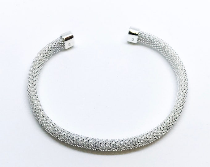 NEW 14K White Gold Layered on Sterling Silver Adjustable Open Bangle Bracelet