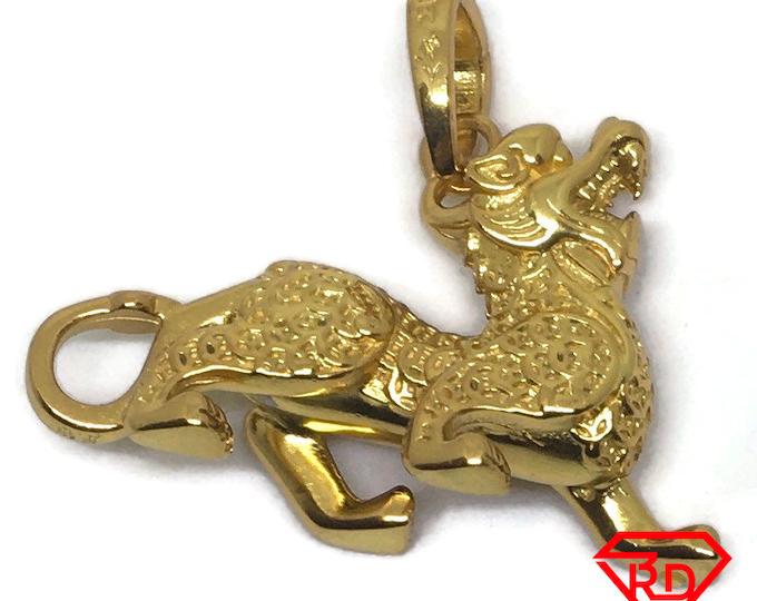 3D Dragon charm pendant 24k Yellow gold on 999 Silver