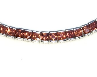 New White Gold Layered 925 Solid Sterling Silver 7 inch Bezel Princess Orange CZ Tennis Bracelet with Box Clasp