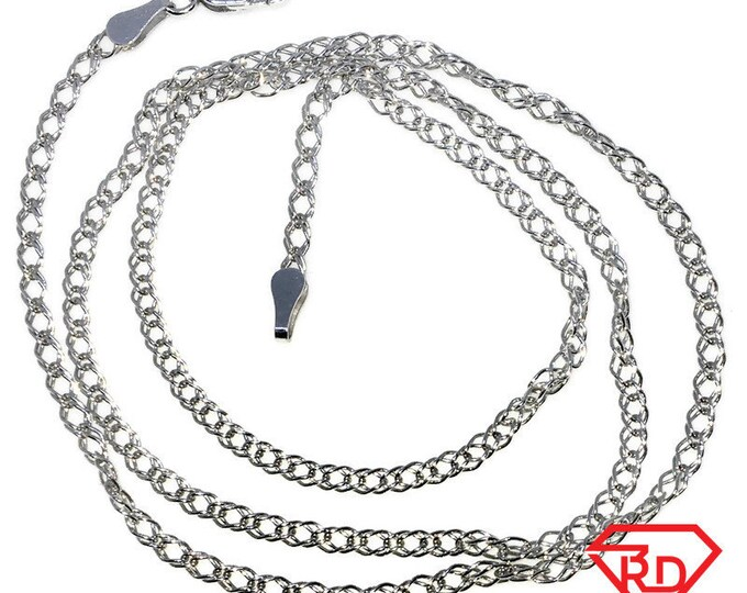 New White Gold Layered 925 Solid Sterling Silver 20 inch plain spiga Chain Necklace with Lobsterclaw clasp