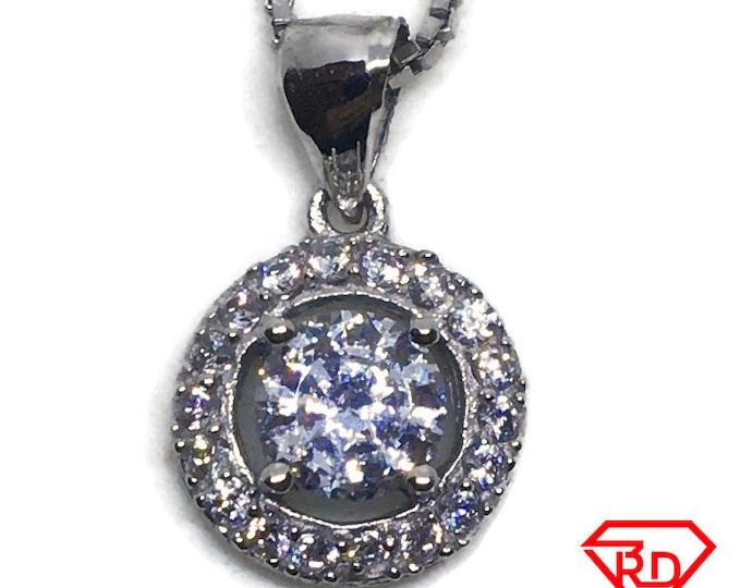 Round Halo with white CZ pendant white gold Layer