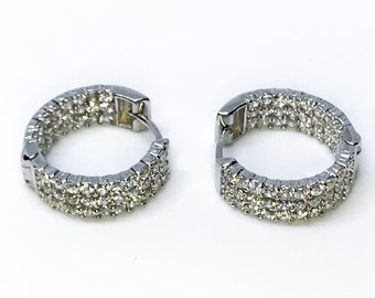 14k white gold on sterling silver hoop earrings