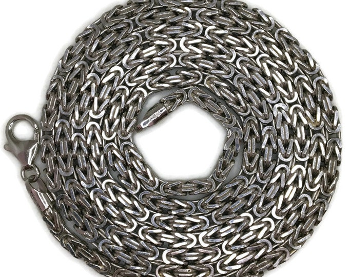 byzantine chain long Necklace 36 inch white gold on silver