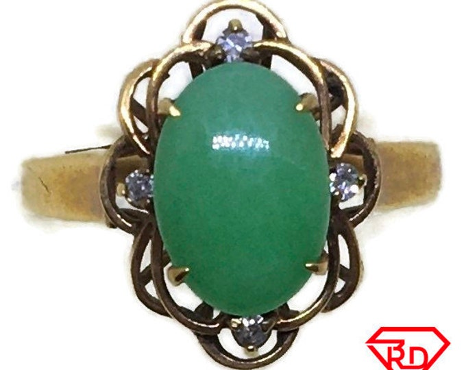 Handcraft 14k diamond and light green jade ring S5
