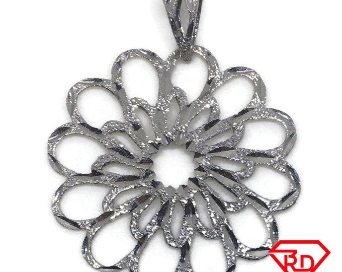 Round Flower Diamond cut 14k white gold pendant