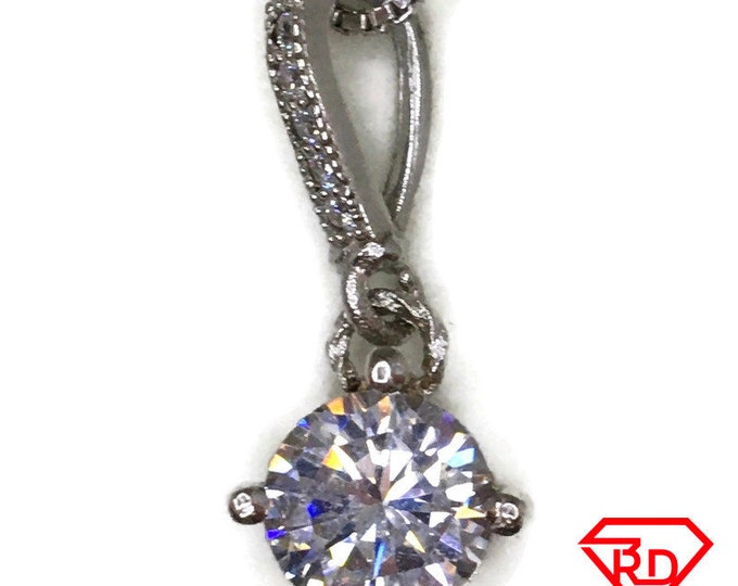 Cubic Zirconia 4 prong basket charm pendant white gold on silver