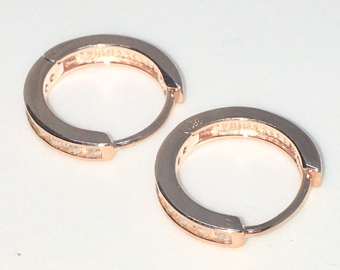 New 14k Pink Gold on 925 Sterling Silver One sided White Round CZ Hoop Earrings ( 2 . 2  mm )