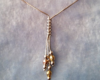 14k Tri Color Rose, Yellow, White Gold Layer on 925 Silver Dangling Necklace