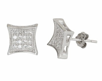 14k White gold layer Medium size Square kite .925 Sterling Silver Micro Pave Cz Earrings