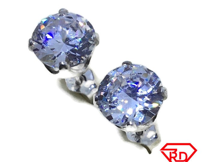White round CZ extra large Stud Earrings 925 silver