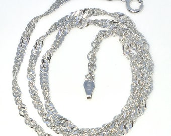 New White Gold Layered 925 Solid Sterling Silver 18 inch plain diamond cut Singapore Chain Necklace with Springring clasp