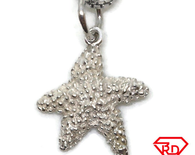 Sea Starfish tiny charm pendant 925 Solid Silver
