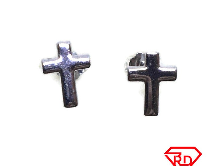 Tiny Smooth cross stud Earrings White gold layer
