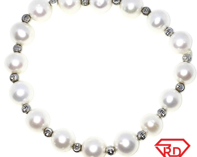 New White Gold Layered on 925 Solid Sterling Silver Elastic Bangle Bracelets with diamond cut beads and smooth pearl