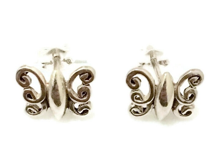 Brand New Anti-tarnish Silver Earrings small studs cute butterfly shape ( 10 . 9 mm )