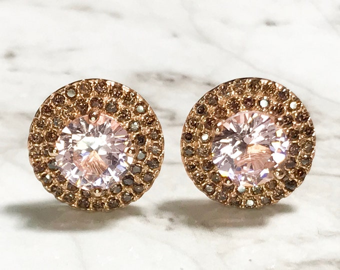 NEW 14K Gold Layered on Sterling Silver Halo with Pink Stone Stud Earrings