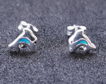 New 14K White Gold on 925 Sterling Silver Small Cute Dolphin Earrings