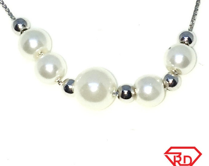 New White Gold Layered 925 Solid Sterling Silver 7 inch Rows of Silver Beads and Pearl Kid Bracelet