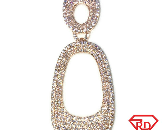 New Rose Gold on 925 Sterling Silver Pendant Artistic Semi-Oval Shape with round white CZ and Rose Gold 16 Inch Chain ( 22 . 3 mm )