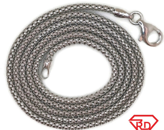 White gold layer on silver necklace thin Popcorn chain 20 inch