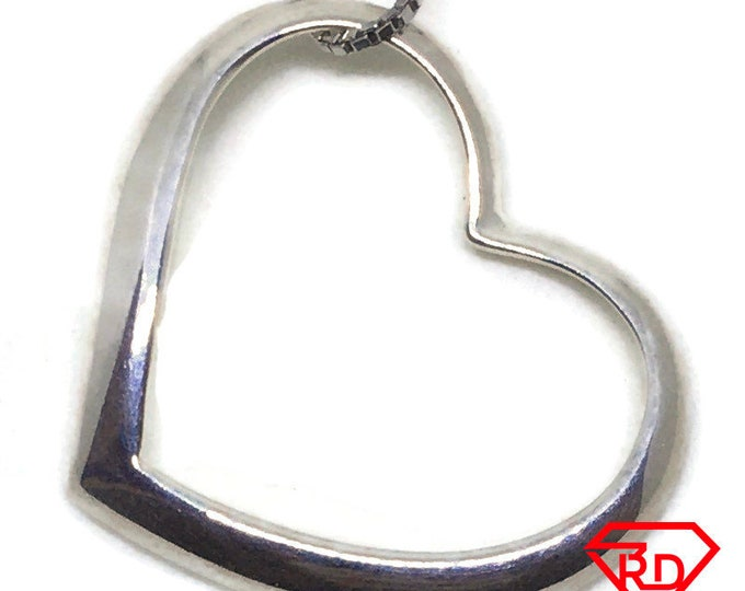 Hollow Heart charm pendant .925 Solid Silver