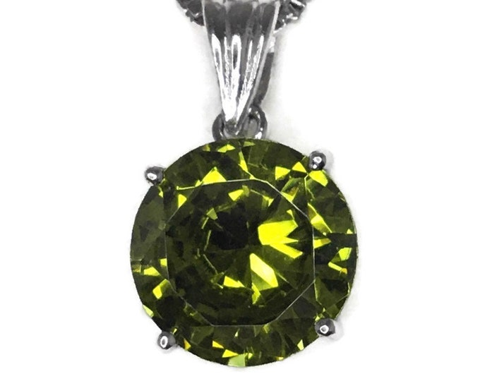 Peridot August Birthstone Pendant 4 prong Cubic Zirconia & white gold