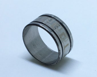9 . 9 mm Brand New White Gold Plated with Blocky Pattern and Dented Lines on Stainless Steel ring band