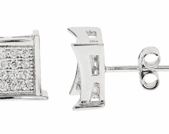 14k White gold layer Medium size Square CZ 925 Sterling Silver MicroPave Earrings