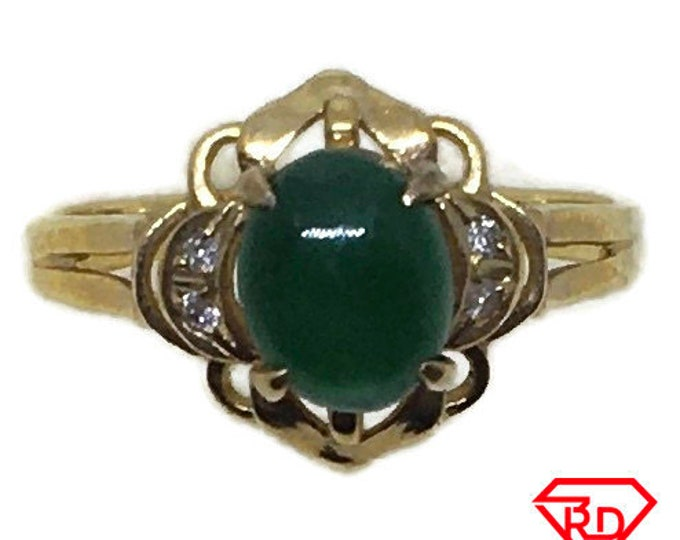 Handcraft 14k diamond and tiny green jade ring S5 . 5