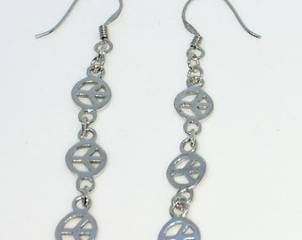 New Handcraft Long chain on 925 Solid Sterling Silver Dangle Drop Earrings ( 42. 9 mm Height )