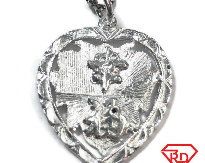 "New 925 Silver Chinese Character Writing ""Lucky"" &  Cow Heart Charm Pendant Reversible Design"