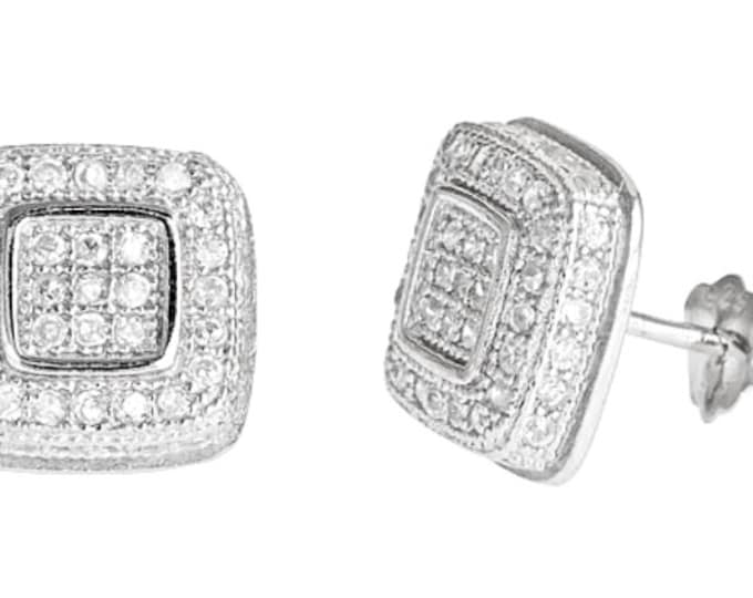14k White gold layer Medium size Bling Bling Square CZ 925 Silver MicroPave Earrings
