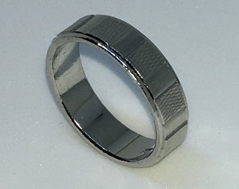 5 . 3mm Size 7 Brand New White Gold Plated with alternating rough and smooth edges on Stainless Steel ring band