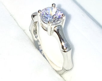 New Handcraft White Gold Plated on Sterling Silver bamboo engagement ring band with 4 prong white round CZ