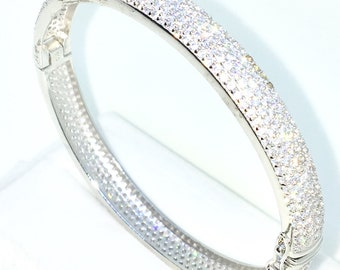 New White Gold Layered on 925 Solid Sterling Silver Oval Wedding Bangle Bracelets bulgy Wide rows of white round CZ and Box clasp