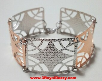 14k Rose & White Gold Layer on 925 Silver Bracelet - 3RoyalDazzy.com Handmade Exclusive- 2