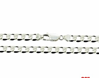 Precious Italian Sterling Silver Anti-Tarnish Curb link Chain 5 MM 20 ""