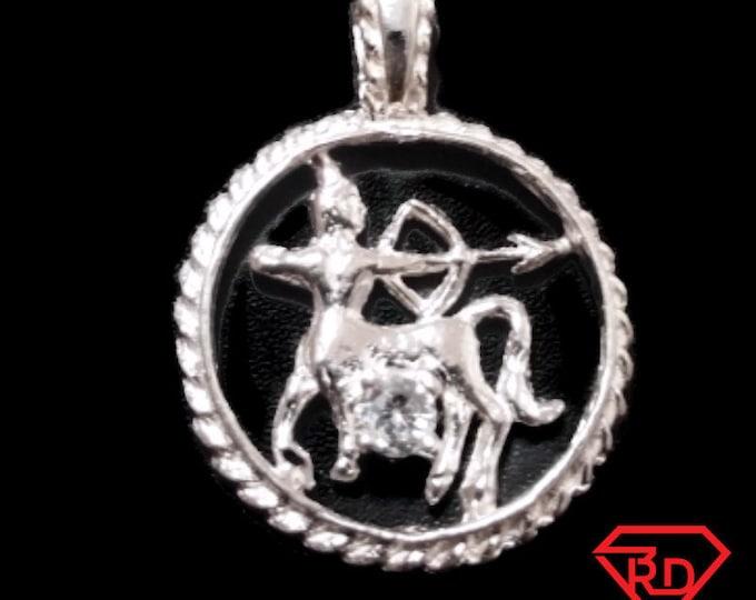 Astrology Zodiac Sagittarius Horoscope Birthday Anti Tarnish .925 Sterling Silver Pendant