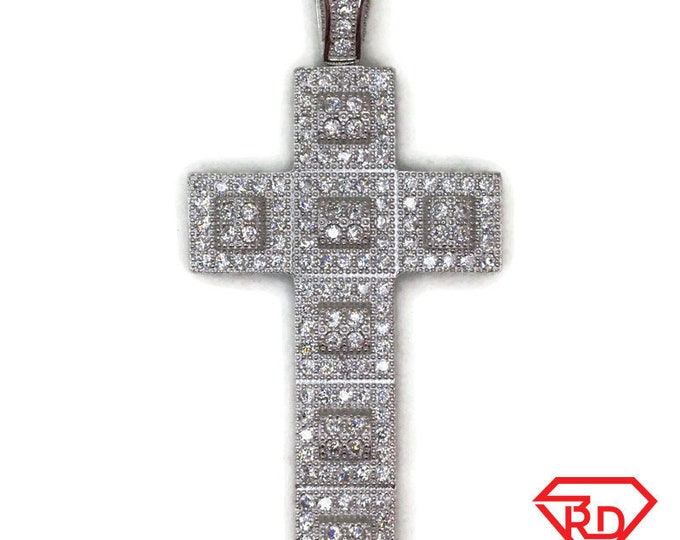 White Gold layer Silver Pendant unfolded cube Cross & white round CZ