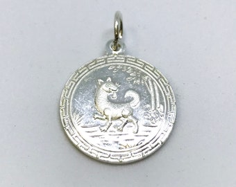 NEW .990 Sterling Silver Year of the Dog Lucky Chinese Pendant