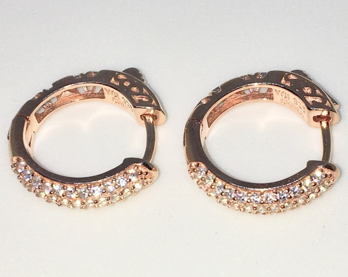 New 14k Pink Gold on 925 Sterling Silver One sided White Round CZ Small Wide Hoop Earrings ( 3 . 5 mm )