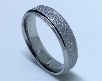 5 . 8 mm Brand New White Gold Plated with White Gold Sand Blast on Stainless Steel ring band