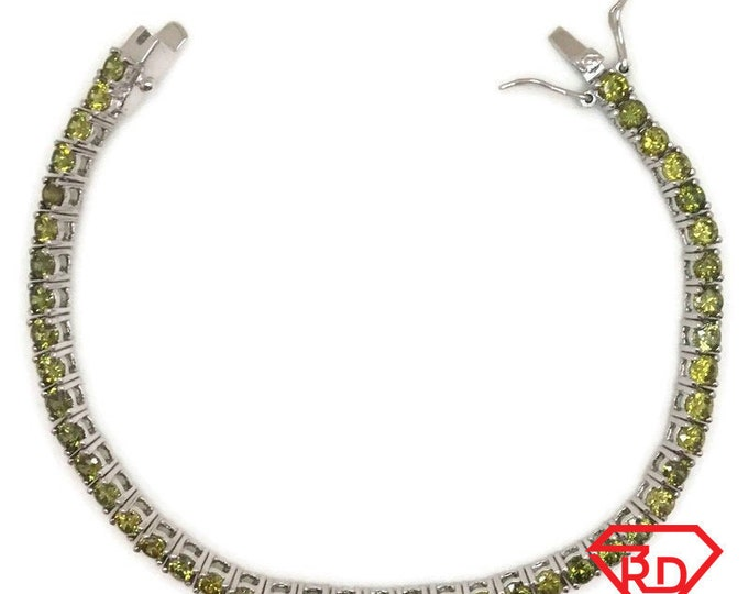 New White Gold Layered Tennis Bracelet four prong basket medium round green CZ
