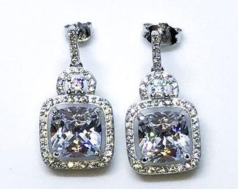 14K White Gold on Sterling Silver Dangling Sophisticated Earrings
