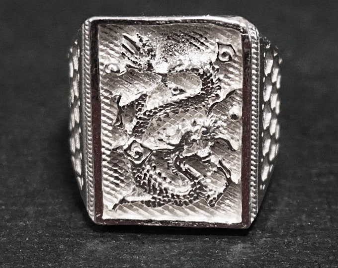 Anti Tarnished 9 2 5 Sterling Silver Zodiac Men's Dragon Ring ( Size : 9 . 2 5 )