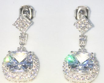 Brand New White Gold on 925 Solid Sterling Silver Rounded Square with white round and princess CZ Dangle Drop Earrings ( 11 . 4 mm )