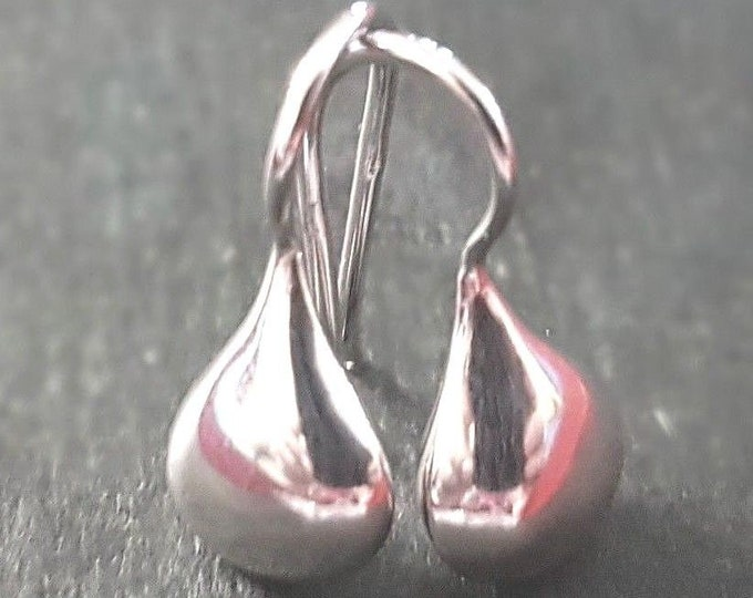 Brand new 14k white gold dip on 925 sterling silver plain reflect drop earrings