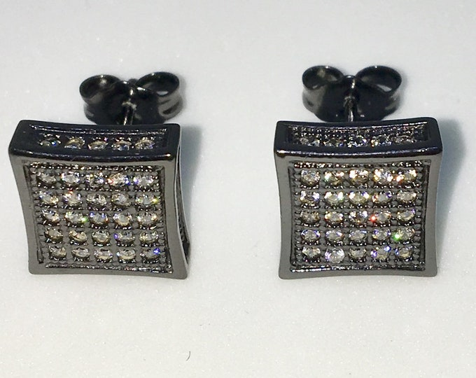 New 14k Black Gold on 925 Sterling Silver Indented Edged Square with White CZ Medium Studs Earrings ( 9 . 1  mm )