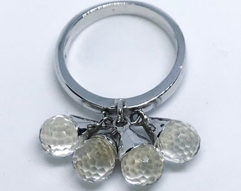 NEW 14K White Gold Layered on Sterling Silver Dangling Four Clear Balls Ring